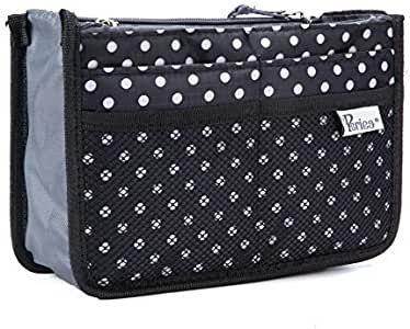 Periea Handbag Organizer - Chelsy - Premium Firm Range - 3 Colours Available - Small, Medium Large (Small, Black with White Polka Dots)