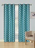 "GorgeousHome(K22) One Silver Grommets Window Panel Geometric Design Heavy Thick Thermal Foam Lined Blackout Curtain Drape Treatment in 4 Sizes and 2 Tone Color (95"" LONG, TEAL/WHITE)"