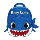 Baby Cartoon Shark Backpack Plush Bookbag Cartoon Toddlers Preschool Bag for Kids (Blue)