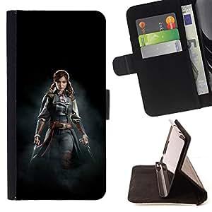 BullDog Case - FOR/Samsung Galaxy Note 3 III / - / FEMALE PIRATE ASSASSINS /- Monedero de cuero de la PU Llevar cubierta de la caja con el ID Credit Card Slots Flip funda de cuer