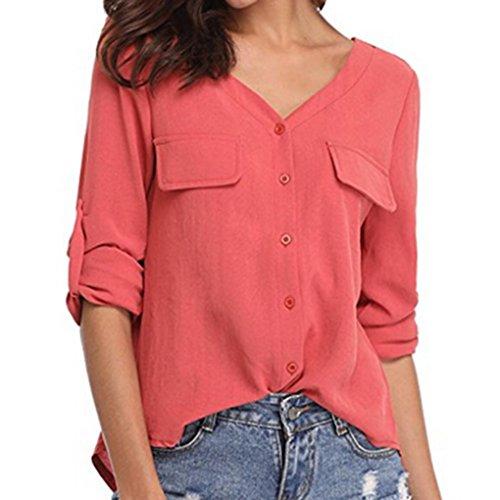 Chiffon Blouse-Han Shi Women Casual V Neck Button Long Sleeve Shirt Tunic Tops (Red, XL)