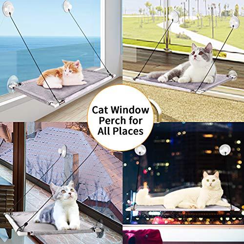 pueikai Hamaca Cama para Gato, Hamaca Ventana de Gato, Percha de Ventana Grande para Gatos con Ventosas de Perilla Resistentes, Cama Gato de Ventana para Tomar el Sol, Soportar hasta 50LBS