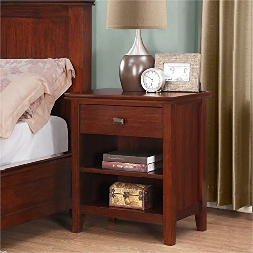 - Simpli Home 3AXCART-02 Artisan Solid Wood 24 inch wide Contemporary Bedside Nightstand Table in Medium Auburn Brown