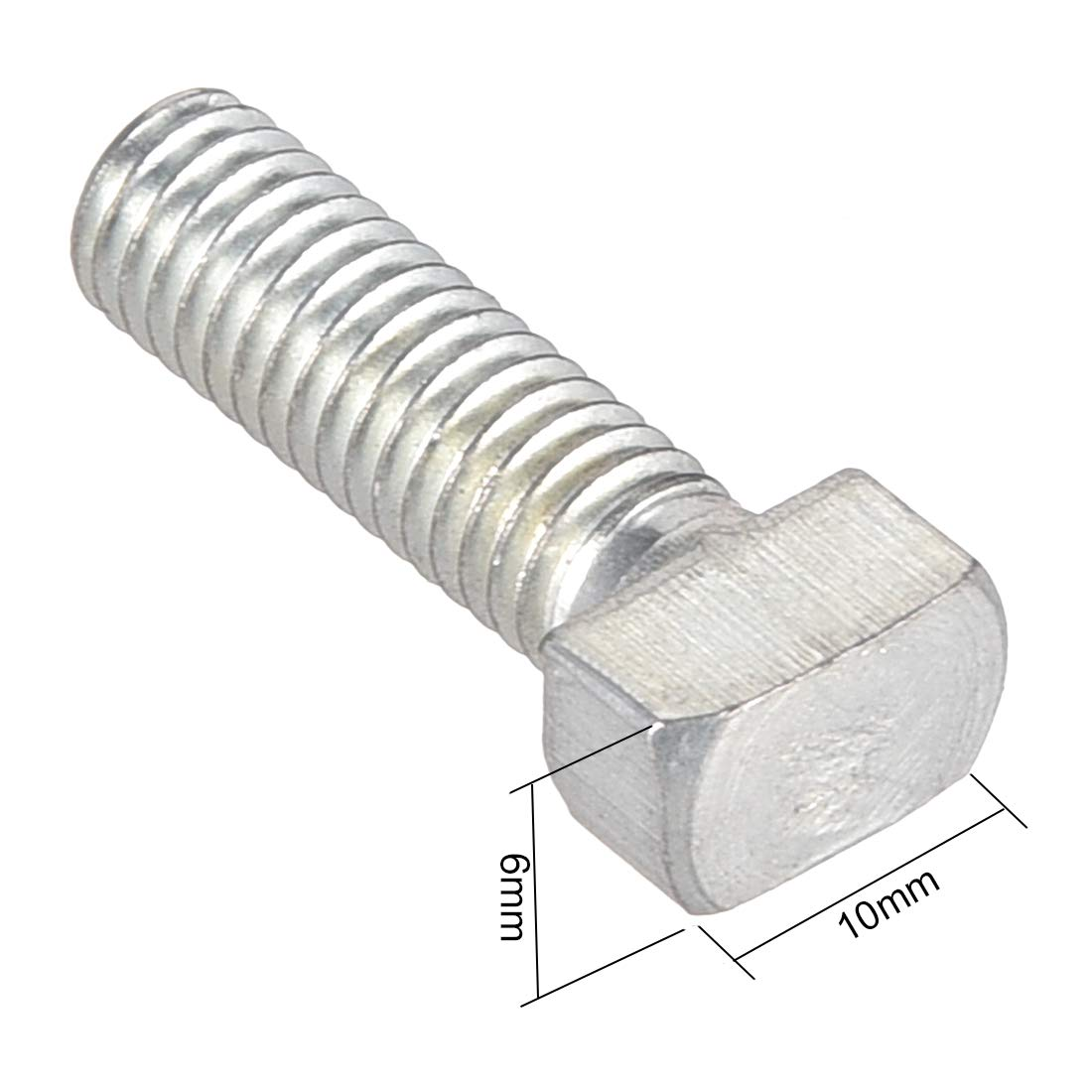 sourcing map M8 Thread 16mm T-Slot Drop-in Stud Screw Bolt Carbon Steel 40 Series 20pcs
