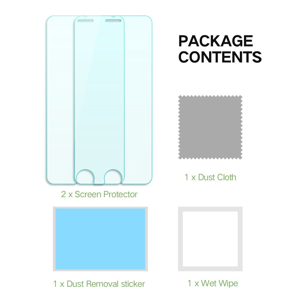 EyeO2 Screen Protector for iPhone 7 Plus Clear 9H Hardness Tempered Glass Screen Gurad Anti-scratch & Anti-fingerprint Protective Accessories for iPhone 7 Plus(2 Pack)
