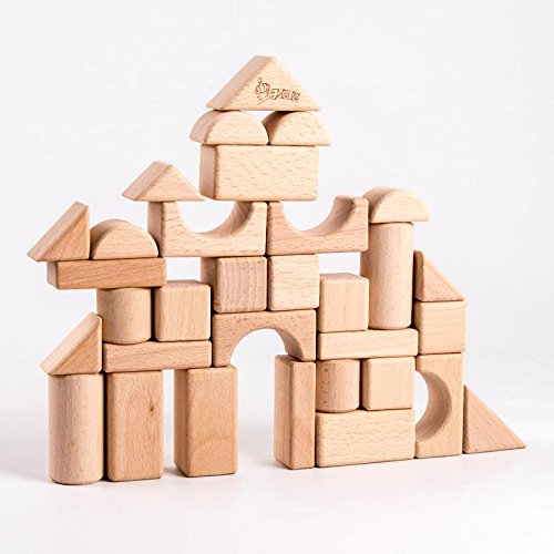 Blocks Standard Unit Building (Kdorrku Stacking Blocks Standard Unit Solid-Wood Wooden Blocks Building Blocks with Wooden Storage Tay Container Natural Wood without Painting - 100% Real Beech Wood (Natural, 72PC))