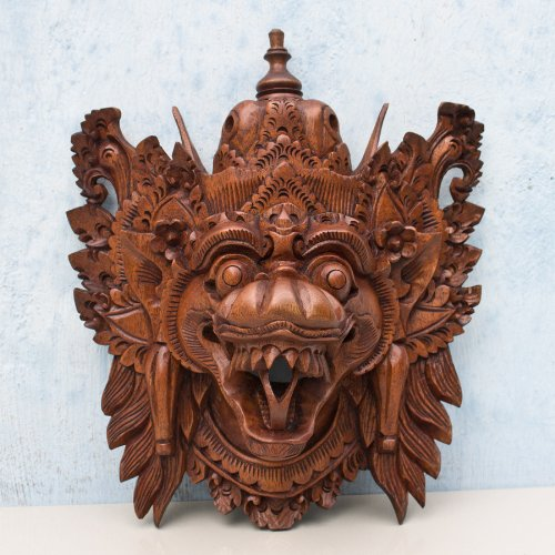 Barong Naga Mask Balinese Dragon Hand Carved Wood Bali Wooden Wall Decor Art by Balinese Artisan