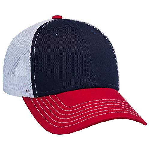 OTTO 6 Panel Low Profile Contrast Vertical Mesh Back Cap - Red/NVY/Wht