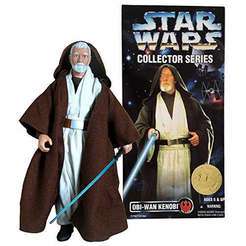Obi Wan Series Collector (SW Star Wars Year 1996 Collector Series 12 Inch Tall Fully Poseable Action Figure : OBI-WAN KENOBI with Authentically Styled Jedi Hooded Robe and Blue Lightsaber)