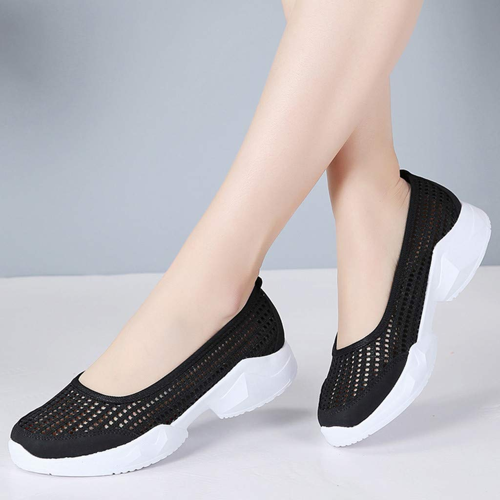 Moonker Ladies Slip On Sneakers Wide Width Walking Shoes Women Outdoor Mesh Lightweight Breathable Casual Shoes