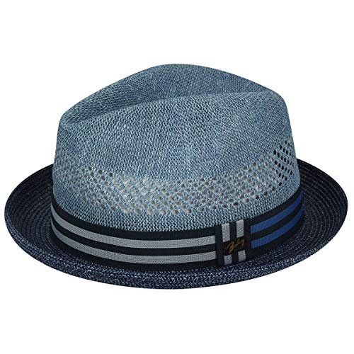 (Bailey of Hollywood Men's Kalix Fedora Trilby Hat, Navy Heather, L)