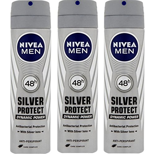 Nivea for Men Silver Protect Anti-perspirant Deodorant Spray 150ml. (Pack of 3)