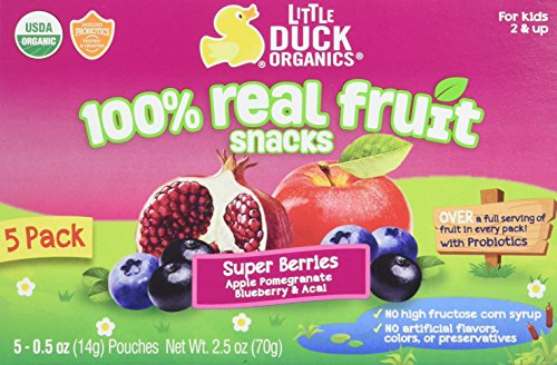 Little Duck Organics Tiny Gummies with Probiotics Lunchbox, Blueberry Acai/Pomegranate, 5 Count (Pack of 6), 2.5 Oz (Duck Organic)