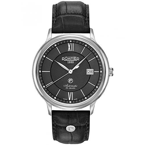 Roamer of Switzerland Men's R-MATIC II 41mm Black Leather Band Steel Case Automatic Watch 956660 41 53 09