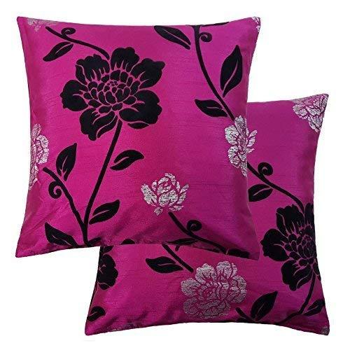 Maine moderno brillante Floral fucsia rosa seda de imitación ...