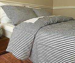 Slate Gray and White Striped Duvet Cover...
