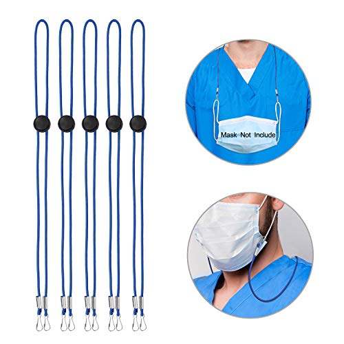 JISON21 Adjustable Length Face Masks Lanyard,Mask Extender Strap Mask Lanyards Holder Around Neck,Ear Protector Saver for Women Men Kids (Royal Blue, 5PCS)