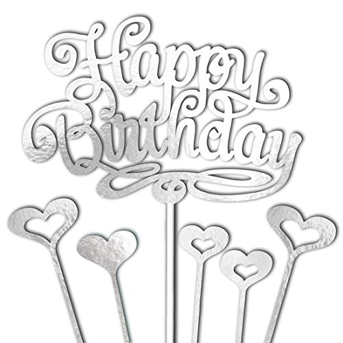 1 Side Cardstock Coated - Happy Birthday Cake Topper Decorations Silver with 5 Hearts Love for Girls and Boys Men and Women Decor Set