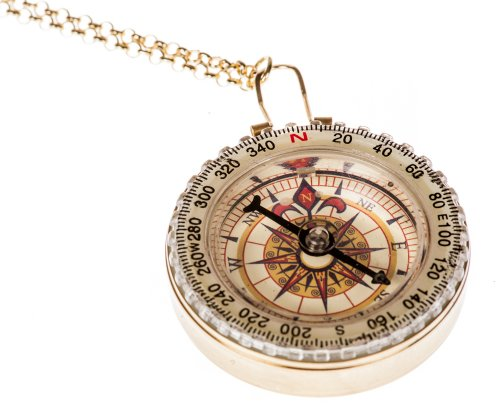 Womans Large Plated Compass Necklace
