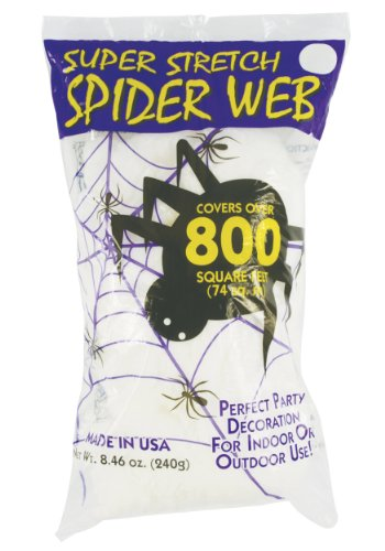 Fun World Super Stretch Spider Web for Halloween Indoor/Outdoor Decoration 8.4 oz 800sqft (1 Halloween Decorations)
