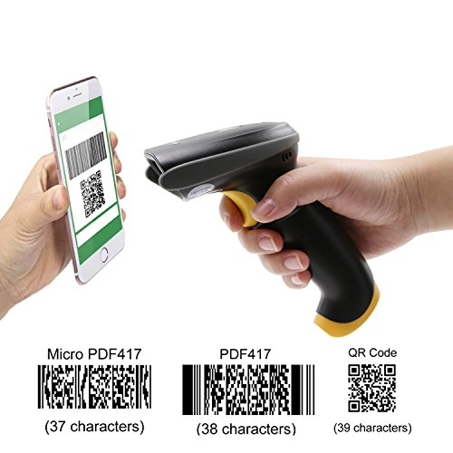 TEEMI QR barcode scanner Handheld Automatic USB wired 1D 2D bar codes Imager with USB Cable for Mobile Payment Computer Screen Scan support Mac OS (Horizontal Bar Screen)