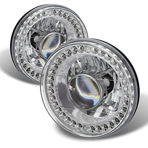 Universal 7 Inch Round Projector Headlights W/LED Chrome Housing With Clear Lens