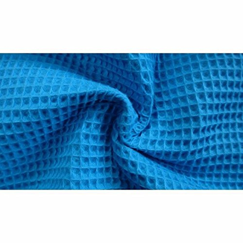 HomeBuy Cotton Waffle Pique Honeycombe Fabric Material - 150Cm Wide Turquoise Blue