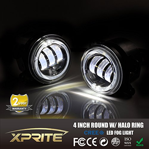 Xprite 4 Quot Inch 60w Cree Led Fog Lights W White Halo Ring