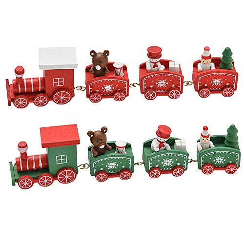 Christmas Wooden Small Train Table Desk Adornament Decorations Children Gifts