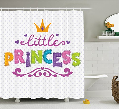Ambesonne Teen Girls Decor Shower Curtain Set, Little Princess Lettering On Polkadot Background Cheerful Illustration, Bathroom Accessories, 69W X 70L Inches, Fuchsia Green
