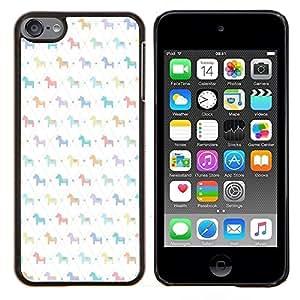 Dragon Case - FOR Apple iPod Touch 6 6th Generation - pony wallpaper pattern white kids - Caja protectora de pl??stico duro de la cubierta Dise?¡Ào Slim Fit