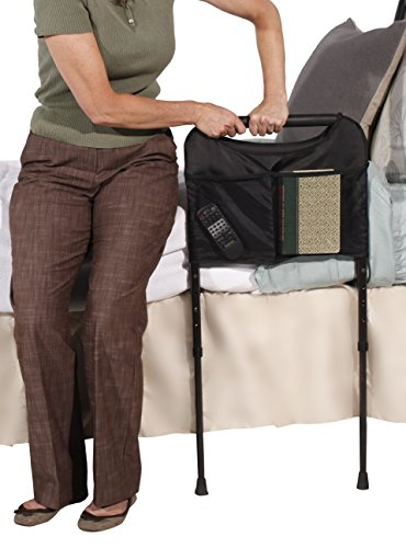 Able Life Bedside Sturdy Bed Rail - Elderly Home Assist Handle + Adult Bed Safety Rail & Adjustable Legs Floor Support & Pouch by Able Life