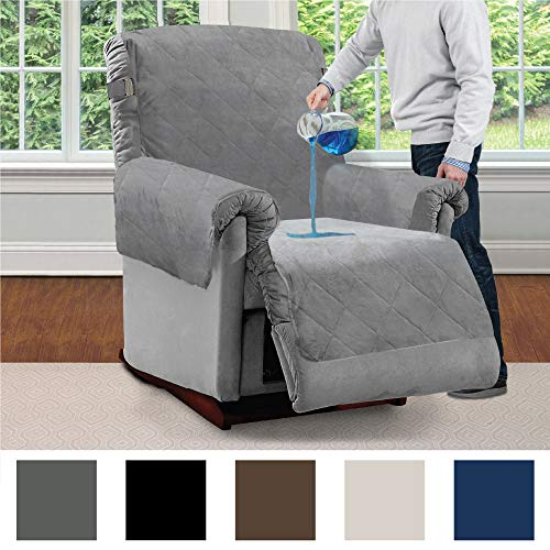MIGHTY MONKEY Premium Slip and Water Resistant Recliner Slipcover, Seat Width Up to 26 Inch, Oeko Tex Certified, Suede-Like, Absorbs 2 Cups of Water, Cover for Recliners, Dogs, Recliner, Gray