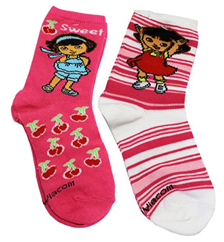 Dora the Explorer Long Ankle Pink Cherries and Stripes Socks (2 Pairs, Size 7-8)