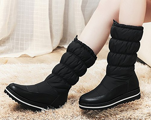 Aisun Womens Warm Winter Round Toe Faux Fur Lined Thick Sole Flat Mid Calf Snow Boots Pull On Platform Down Booties Black hjDZXVxR
