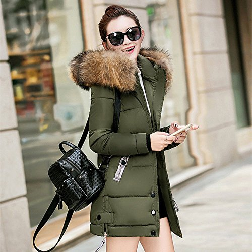 M Green Warm Women Winter Padded Long Down Coat Parka Slim Ladies Jacket Army Hooded Outwear S Black qz4OZ