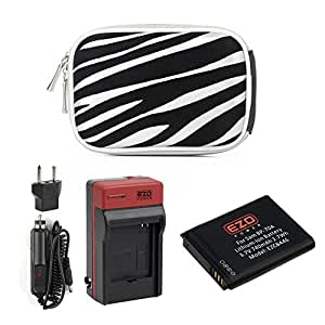 EZOPower BP-70A Battery + Travel Charger Kit + Silver Zebra EVA Case for Samsung DV150F, WB30F, ST72, ST150F, ST66, ST76, MV800 Digital Camera