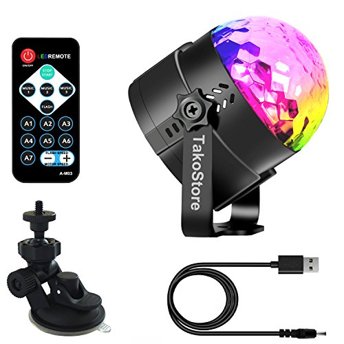 Portable Party Lights,Rotate Colored LED Mini Disco Ball Party Light/Sound Activated/Strobe Light for Dance Night Club/Christmas/Wedding/DJ Lighting for Car,KTV,Bar,yacht party,Club and home(with USB) by TakoStore (Image #9)