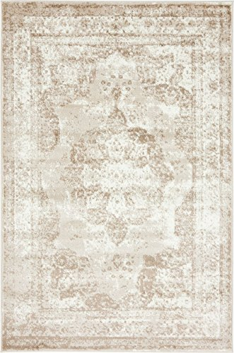 - Traditional Persian Vintage Design Rug Beige Rug 4' x 6' FT (183cm x 122cm) Sofia Area Rug Inspired Overdyed Distressed Fancy