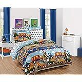 MK Home Juego de edredón y sábana para Adolescentes/niños, Camiones de construcción, Tractores, Azul, Rojo, Amarillo, Full Duvet Set