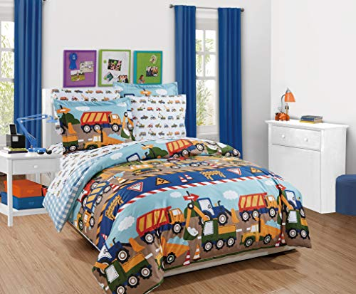 MK Home 3pc Full Duvet Set Teens/Boys Construction Trucks Tractors Blue Red Yellow New