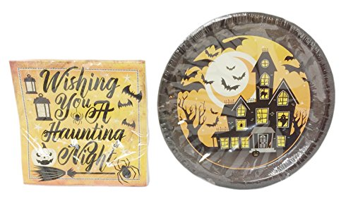 Halloween Plate and Napkin Set ~ Serves 18 (Wishing You a Haunting Night)]()