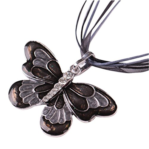 (Clearance!Womens Enamel Butterfly Crystal Silver Personalized Pendant Necklace by Kimloog (Black))