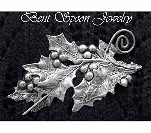 Shawl Pin, Victorian Large Silver Holly and Berries Shawl Pin, Scarf Pin, Holiday pin