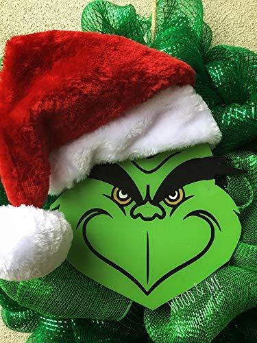Grinch Wreath, Holiday Wreath, Door Decor, Porch Decor, Mr. Grinch, You're a Mean One Mr. Grinch, Mesh Wreath, Santa Hat, Holiday Decor