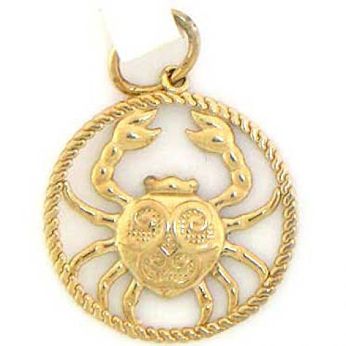 Jewelry Liquidation 14k Solid Yellow Gold Cancer Zodiac Charm Pendant