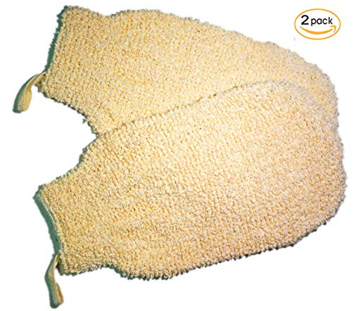- 2 Pieces(4.7×8.6 inches) Cotton Terry Exfoliating Sisal Bath Spa Shower Scrubber Loofah Rub Glove Mitt Mitten - Great for Your Skin Care in the Bath - Ant - aging