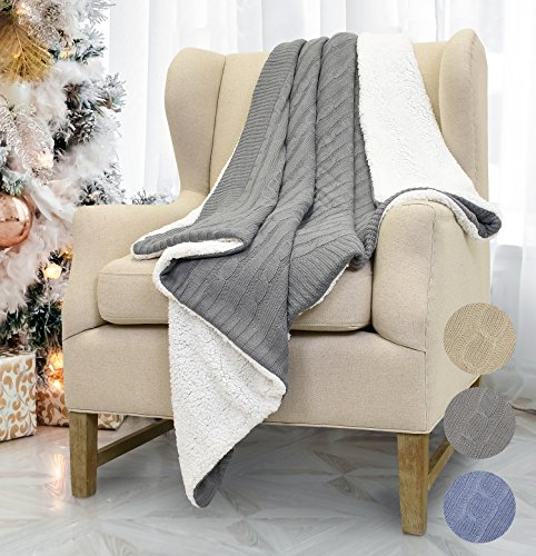 Catalonia Cable Knit Sherpa Throws, Reversible Super Soft Sherpa Sweater Blanket Warm Cozy for Couch Bed 60x50 Gray