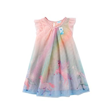 19bbbeed18 Unicorn Baby Girl Dress Mesh Colourful Tulle Party Fancy Dress Sundress  Summer Cute Clothing (2T