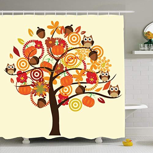 Ahawoso Shower Curtain for Bathroom 60x72 Orange Pumpkin Fall Tree Acorns Flowers Owls Miscellaneous Nature Festive Thanksgiving Patch Autumn Waterproof Polyester Fabric Bath Decor Set with Hooks